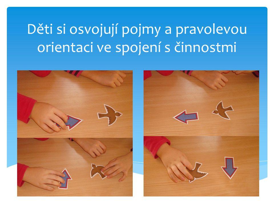 Děti si osvojují pojmy a pravolevou orientaci ve spojení s činnostmi