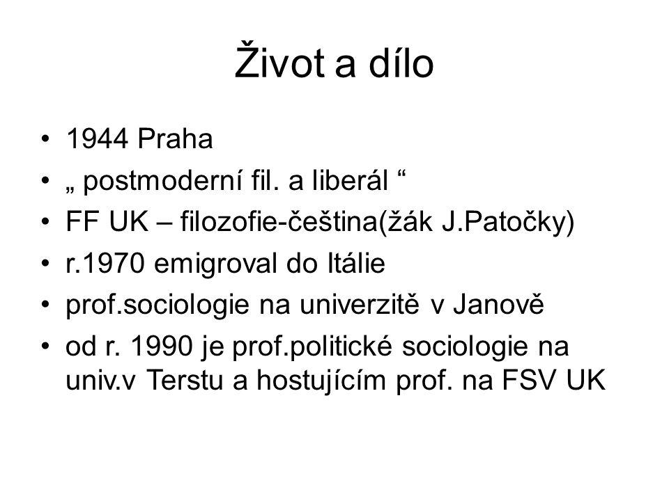 """Život a dílo 1944 Praha """" postmoderní fil. a liberál"""