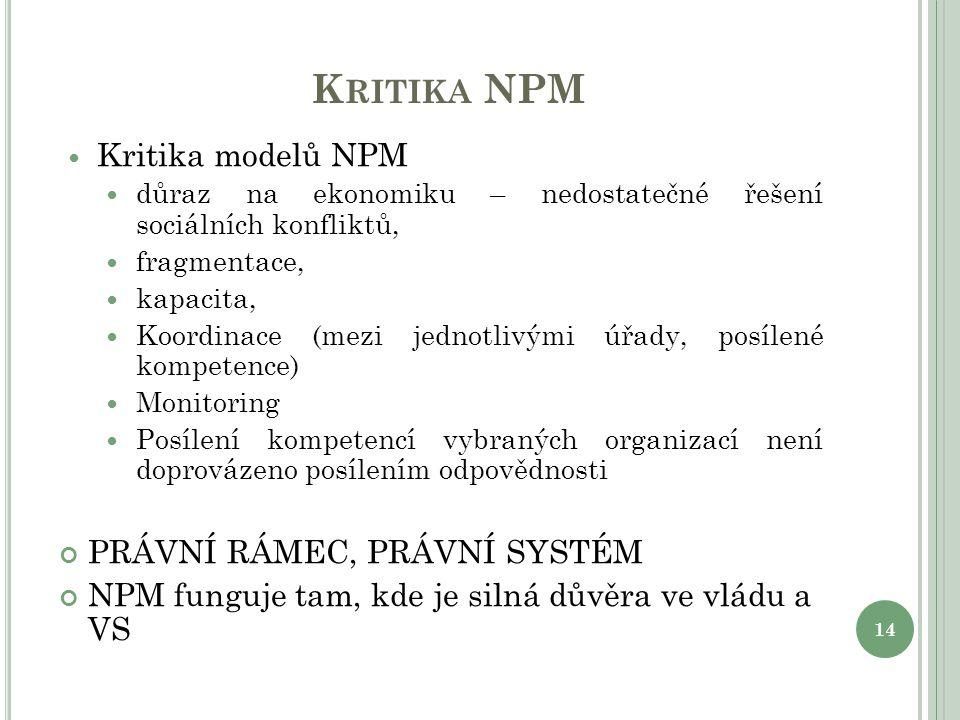 Kritika NPM Kritika modelů NPM PRÁVNÍ RÁMEC, PRÁVNÍ SYSTÉM
