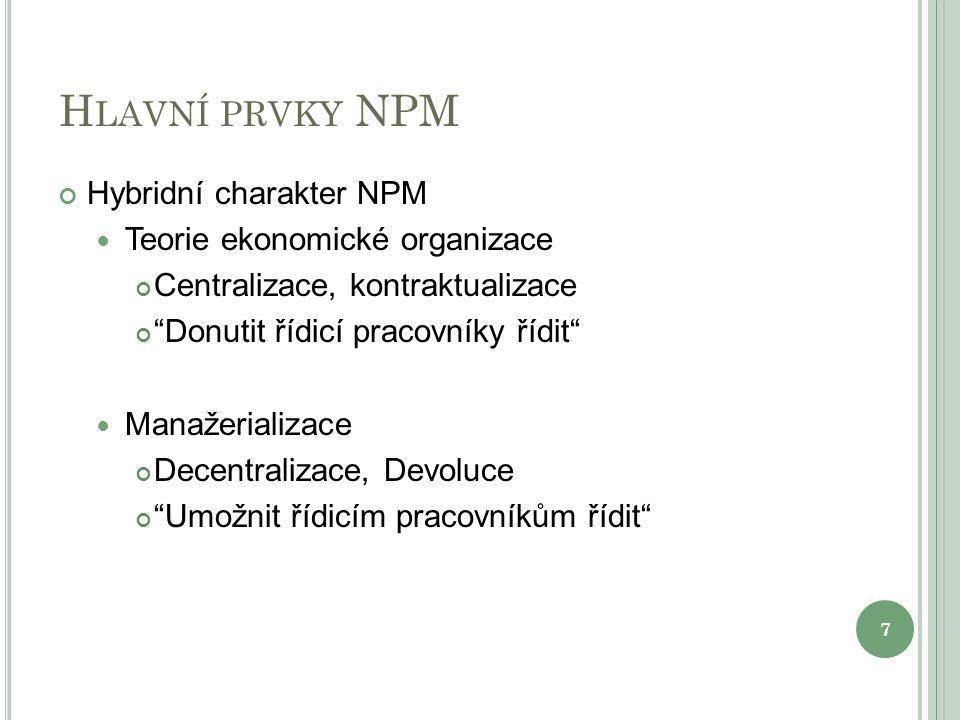 Hlavní prvky NPM Hybridní charakter NPM Teorie ekonomické organizace