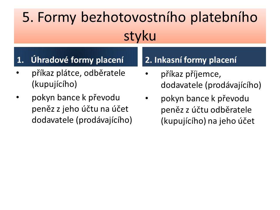 5. Formy bezhotovostního platebního styku