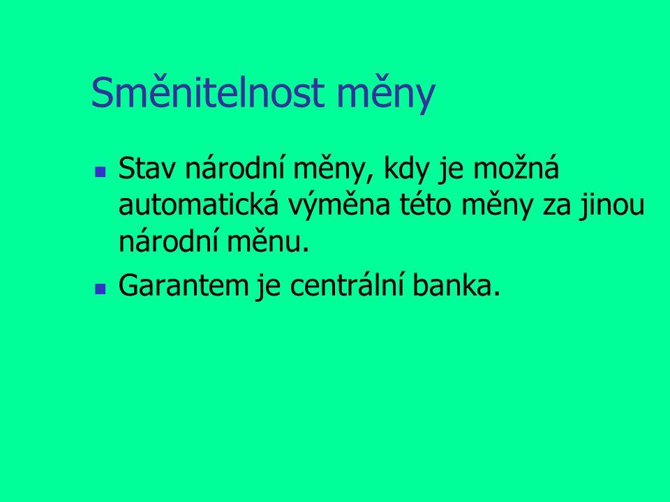 Směnitelnost měny Stav národní měny, kdy je možná automatická výměna této měny za jinou národní měnu.