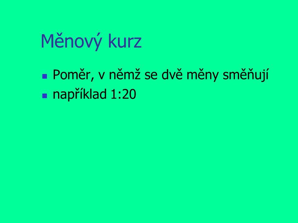 Měnový kurz Poměr, v němž se dvě měny směňují například 1:20