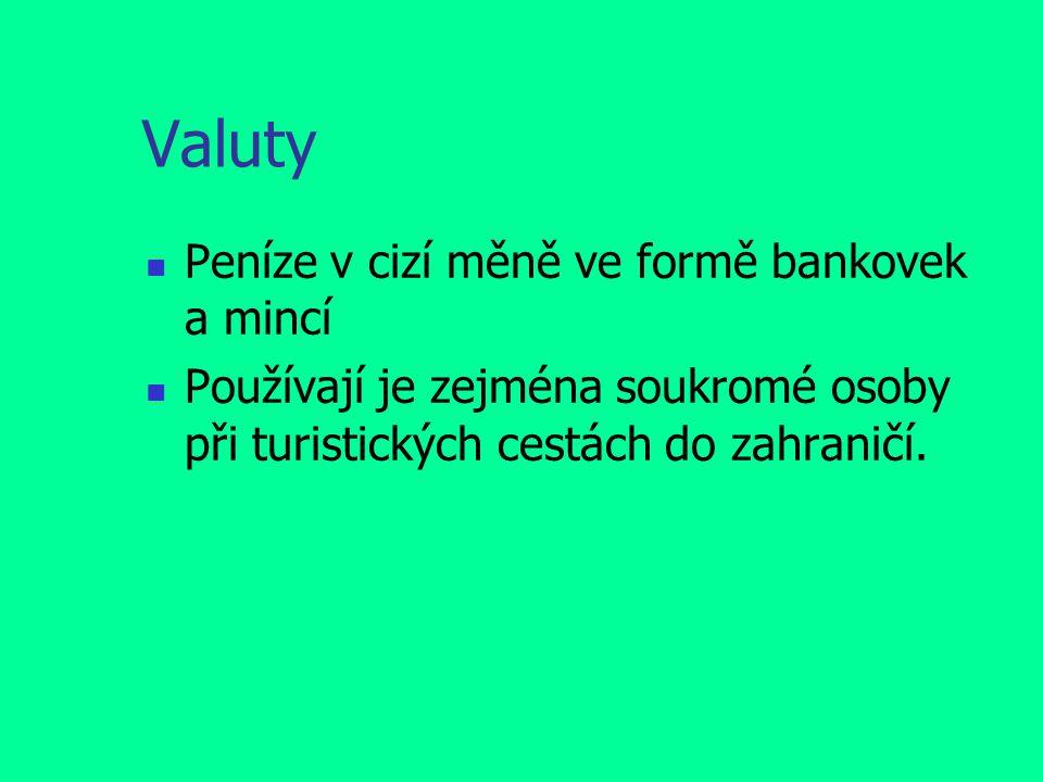 Valuty Peníze v cizí měně ve formě bankovek a mincí