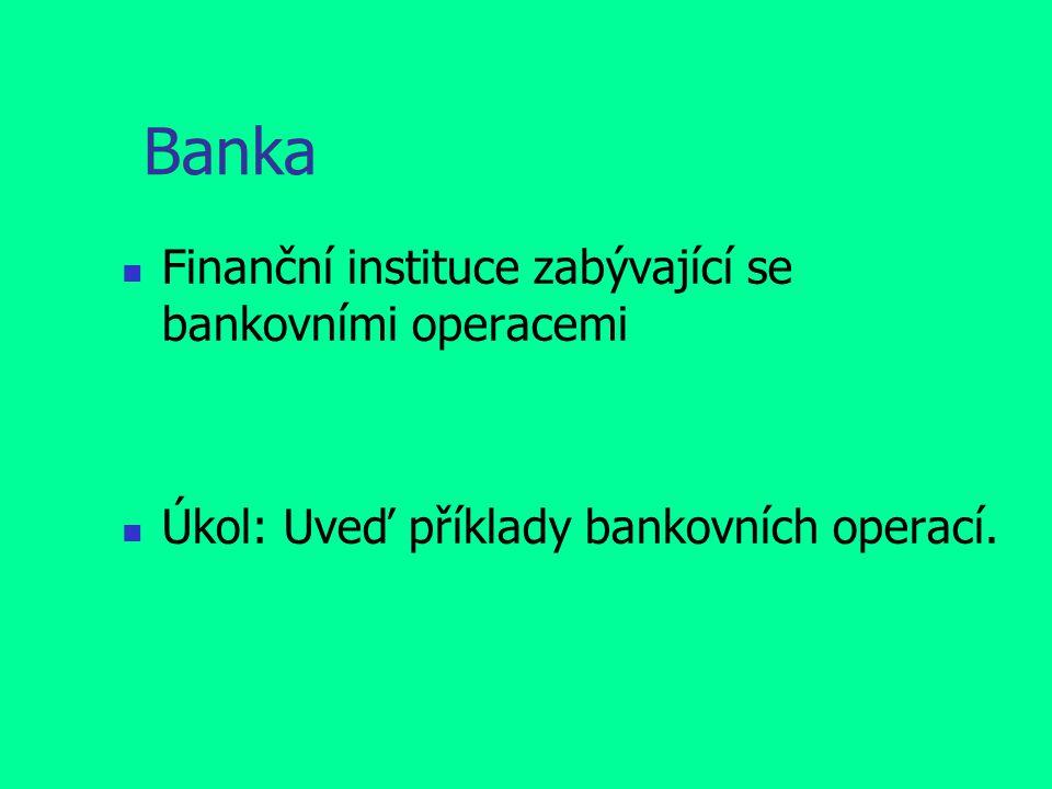 Banka Finanční instituce zabývající se bankovními operacemi