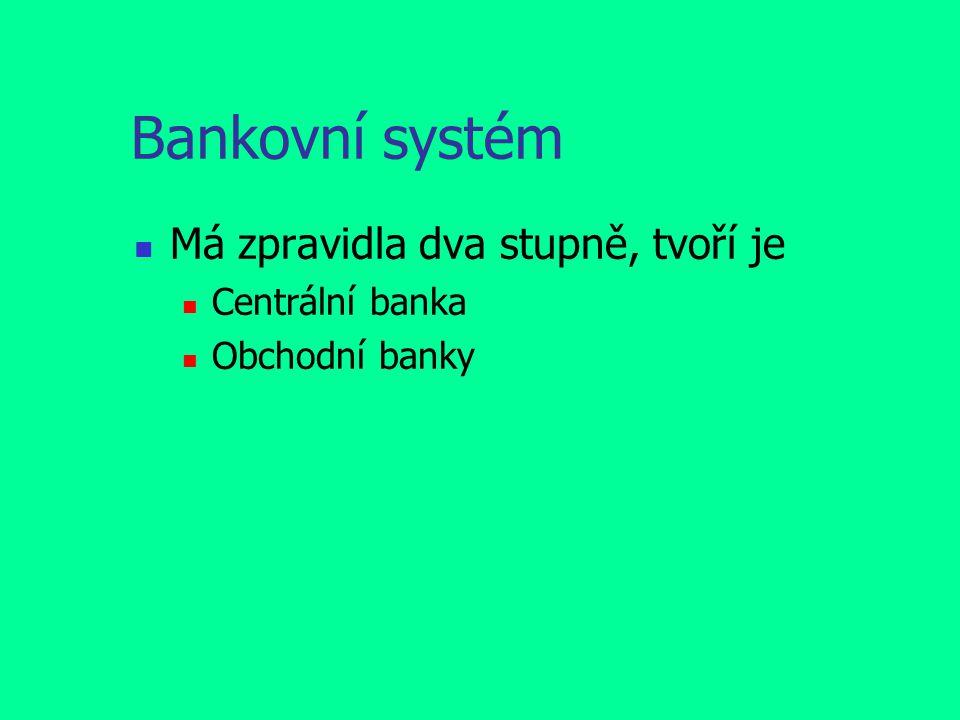 Bankovní systém Má zpravidla dva stupně, tvoří je Centrální banka