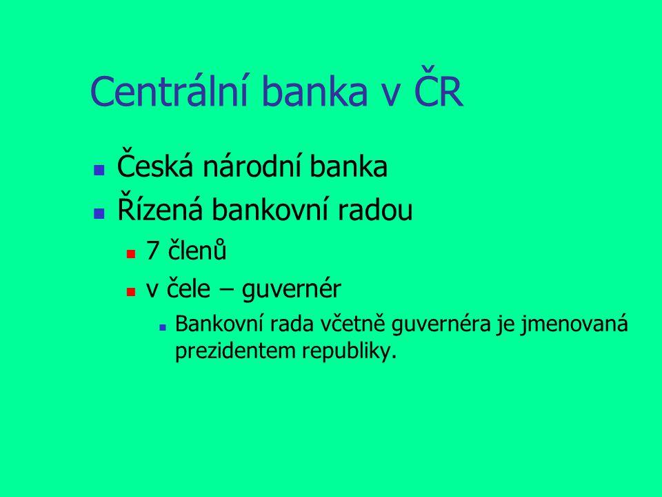 Centrální banka v ČR Česká národní banka Řízená bankovní radou 7 členů