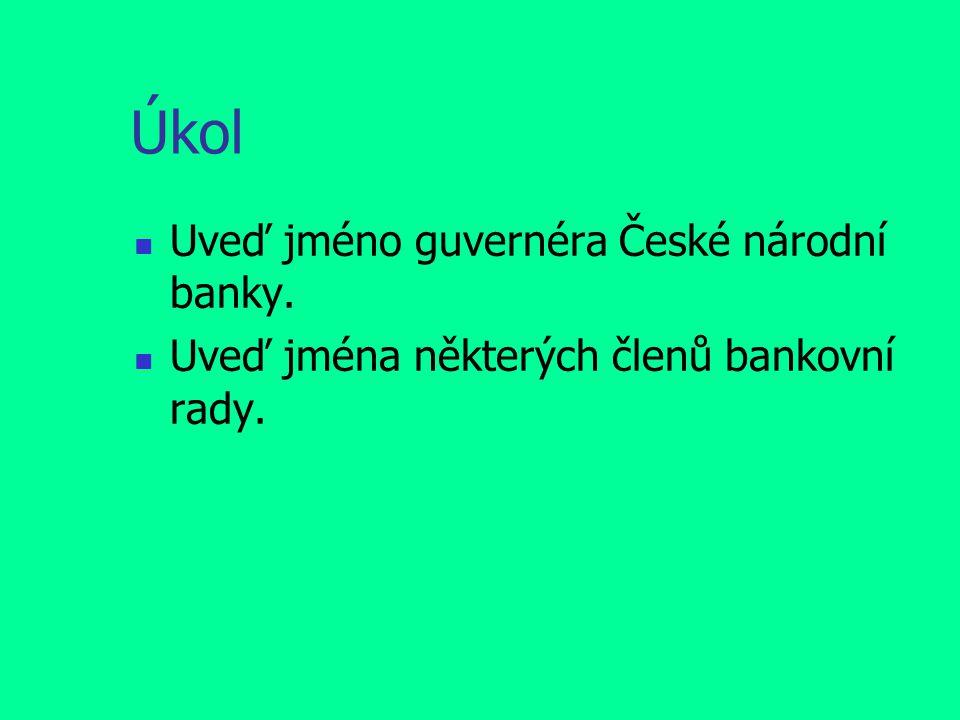 Úkol Uveď jméno guvernéra České národní banky.