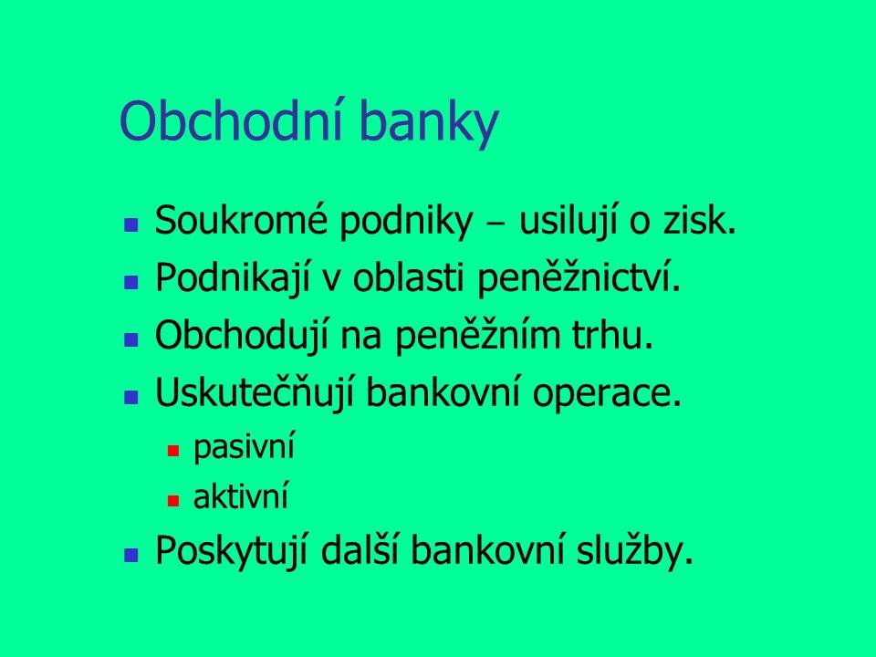 Obchodní banky Soukromé podniky ‒ usilují o zisk.