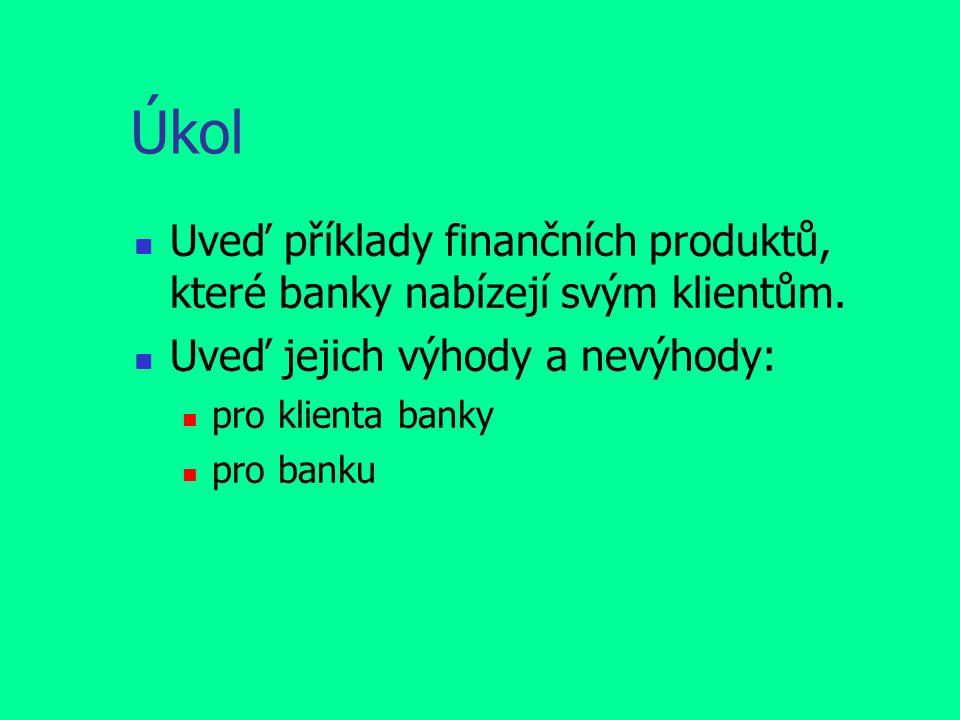 Úkol Uveď příklady finančních produktů, které banky nabízejí svým klientům. Uveď jejich výhody a nevýhody: