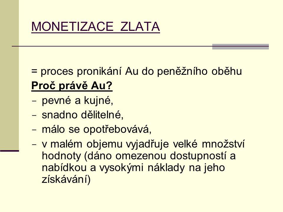 MONETIZACE ZLATA = proces pronikání Au do peněžního oběhu