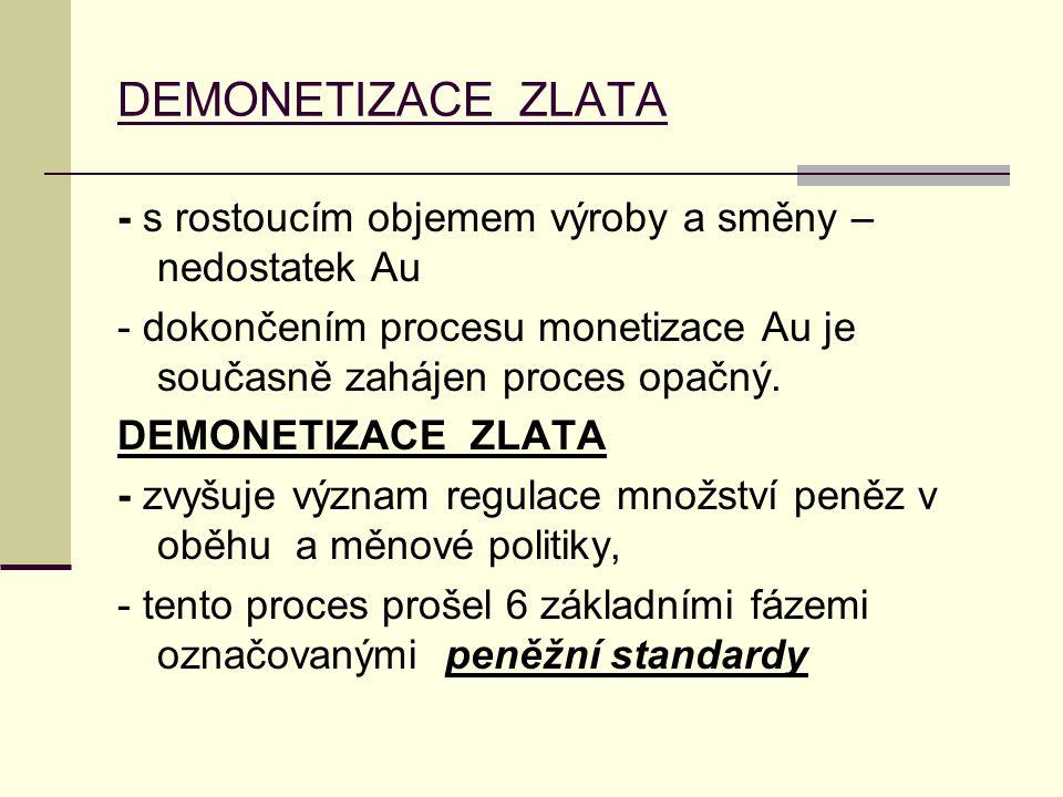 DEMONETIZACE ZLATA - s rostoucím objemem výroby a směny – nedostatek Au. - dokončením procesu monetizace Au je současně zahájen proces opačný.