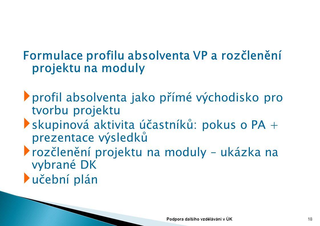 Formulace profilu absolventa VP a rozčlenění projektu na moduly