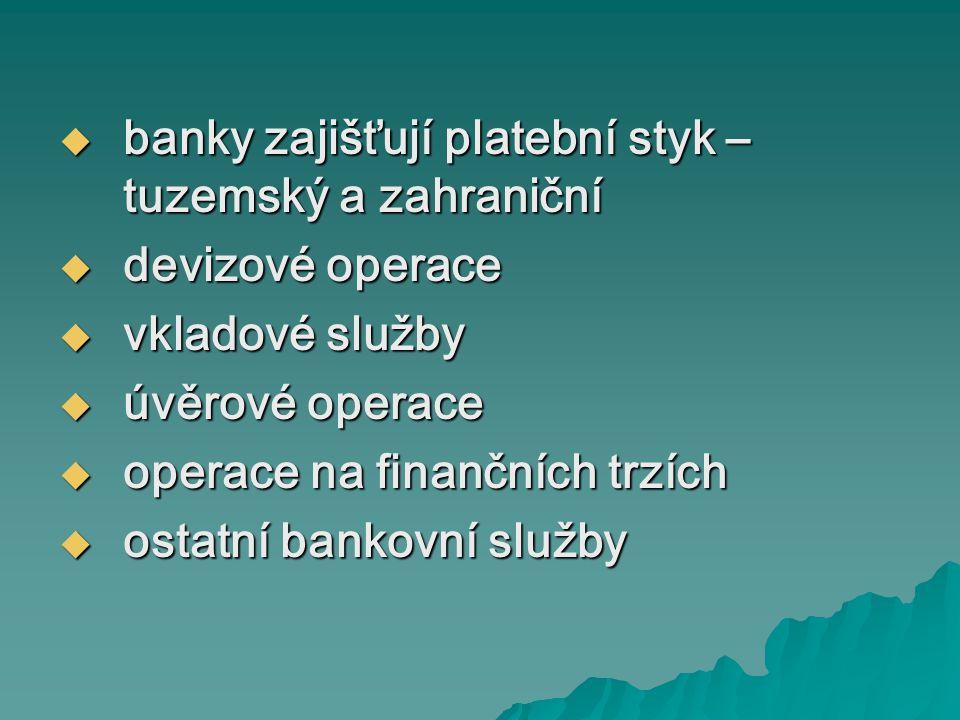 banky zajišťují platební styk – tuzemský a zahraniční