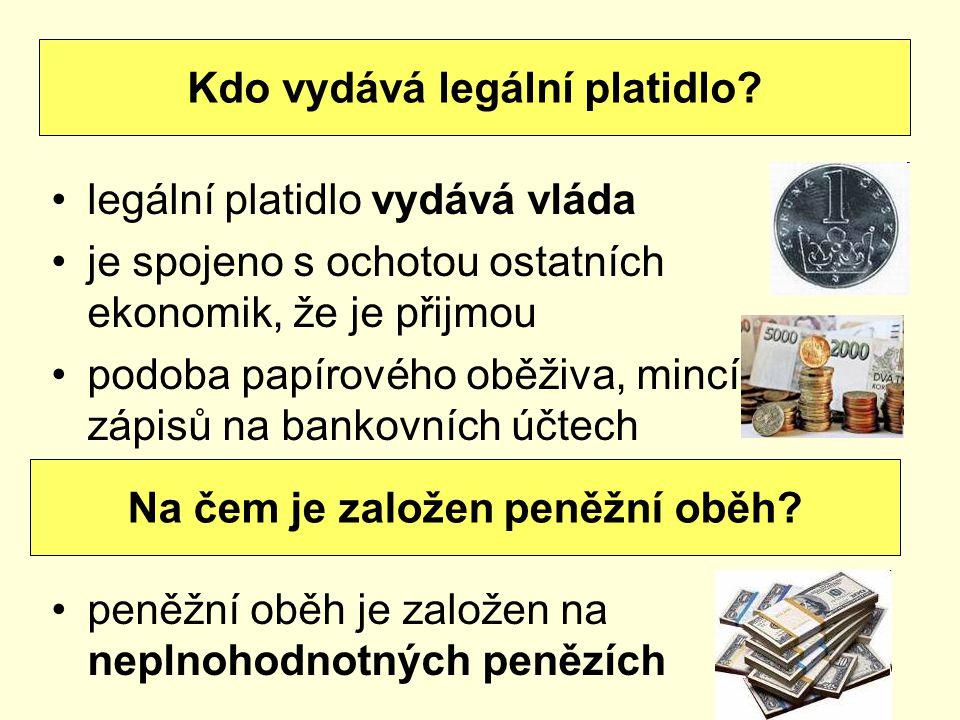 Kdo vydává legální platidlo Na čem je založen peněžní oběh