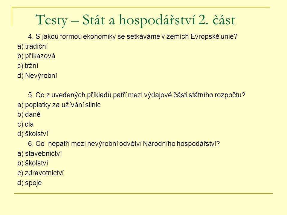 Testy – Stát a hospodářství 2. část