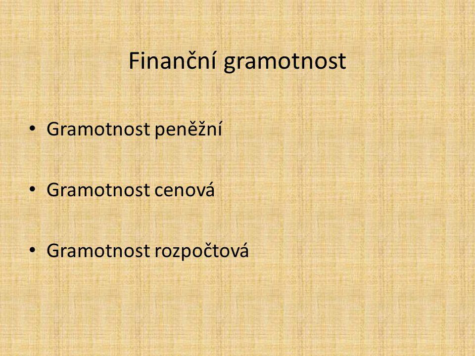 Finanční gramotnost Gramotnost peněžní Gramotnost cenová