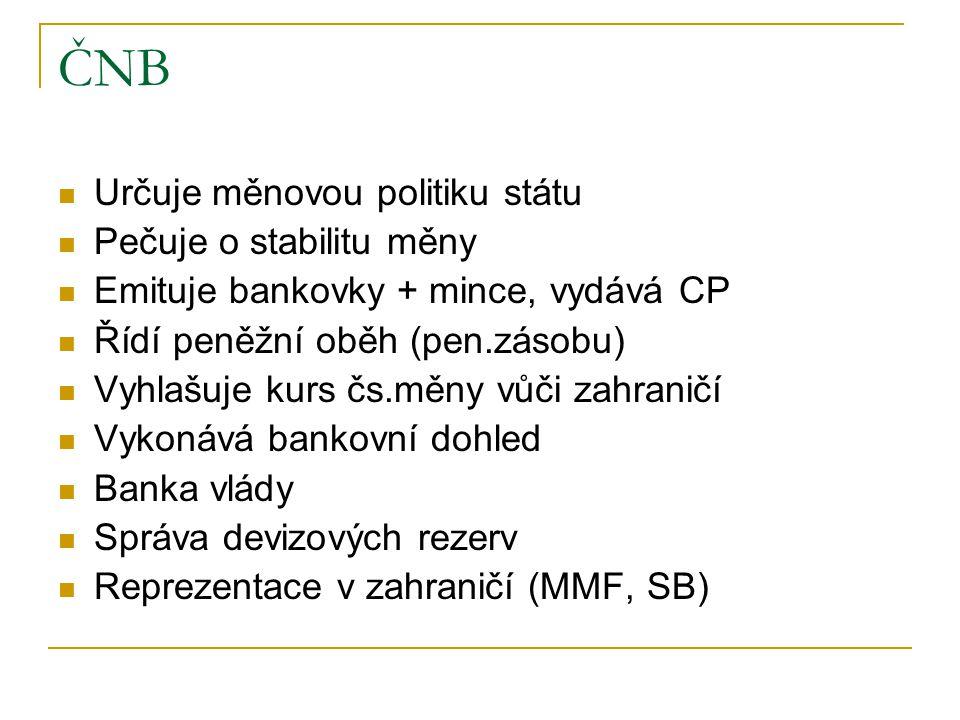 ČNB Určuje měnovou politiku státu Pečuje o stabilitu měny