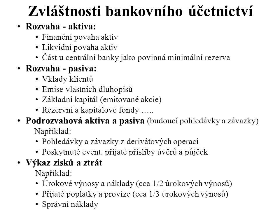 Zvláštnosti bankovního účetnictví