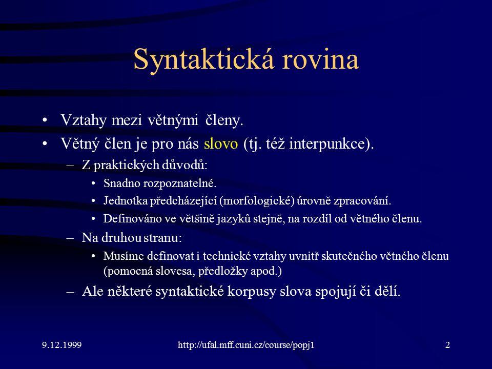 Syntaktická rovina Vztahy mezi větnými členy.