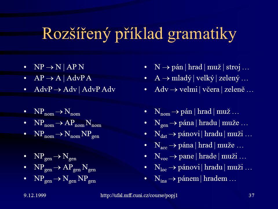 Rozšířený příklad gramatiky