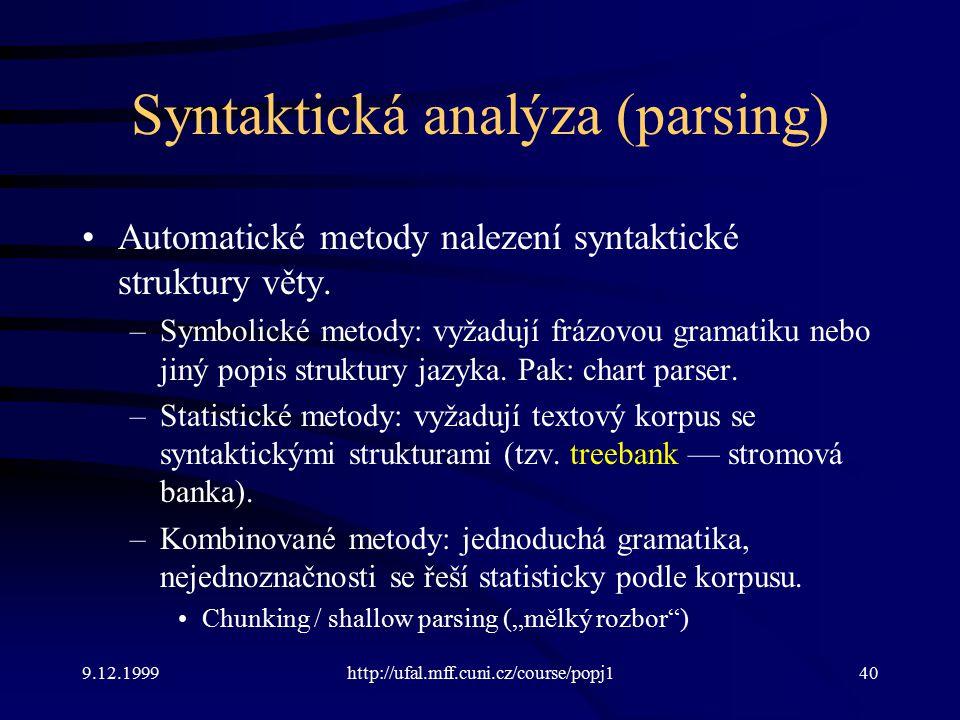 Syntaktická analýza (parsing)