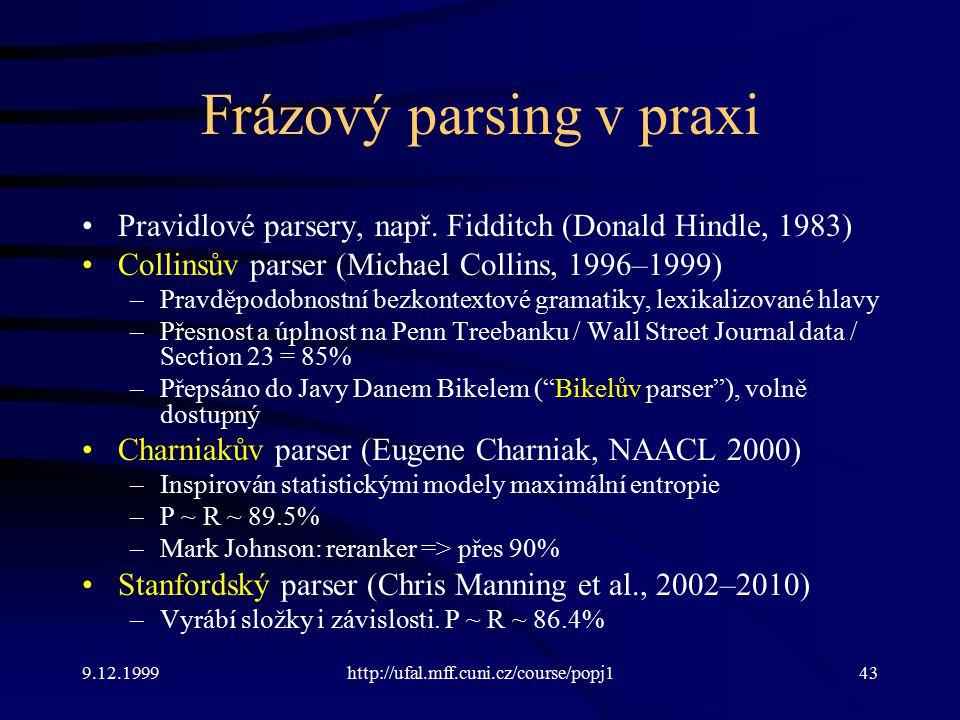Frázový parsing v praxi