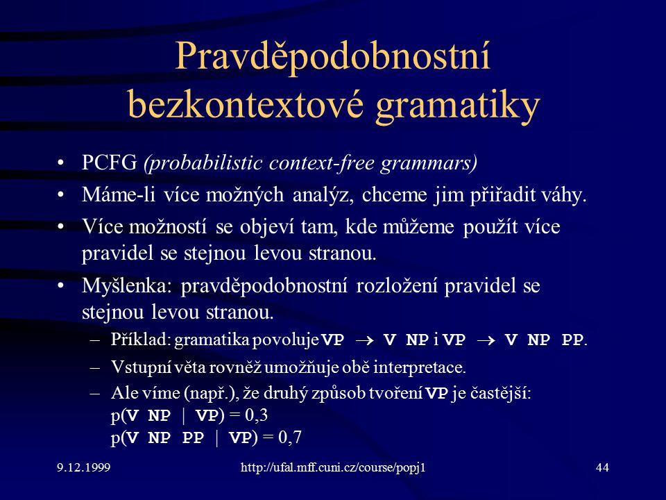 Pravděpodobnostní bezkontextové gramatiky