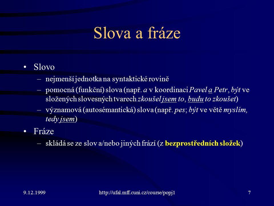 Slova a fráze Slovo Fráze nejmenší jednotka na syntaktické rovině