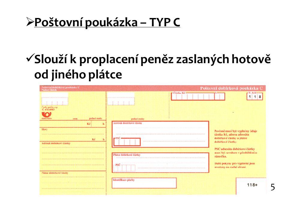 Poštovní poukázka – TYP C