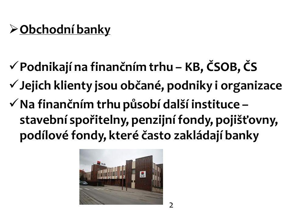 Podnikají na finančním trhu – KB, ČSOB, ČS