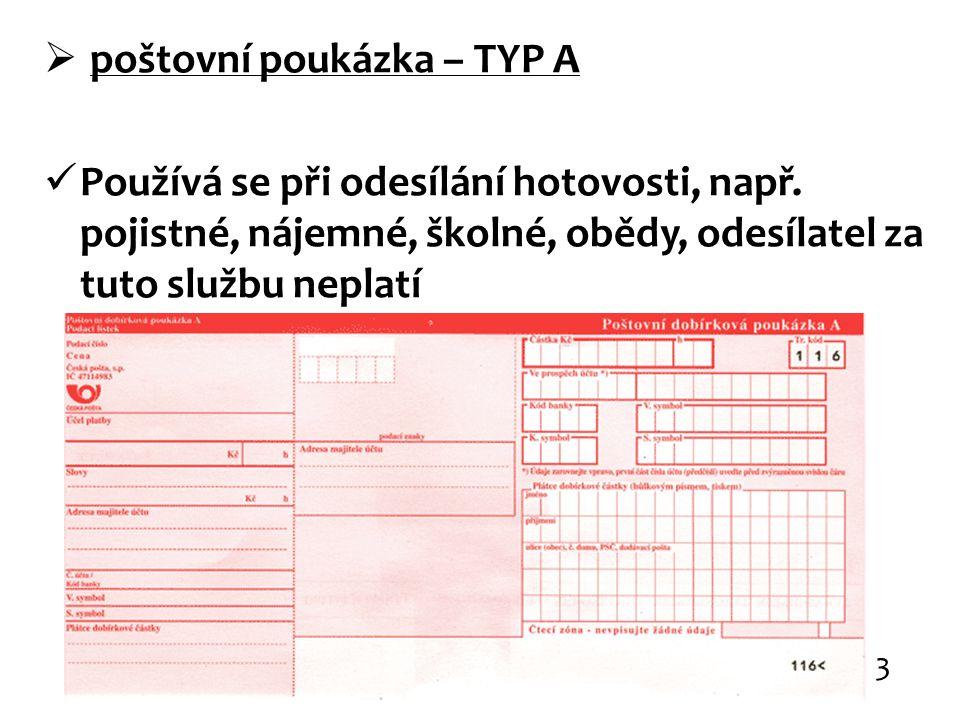 poštovní poukázka – TYP A
