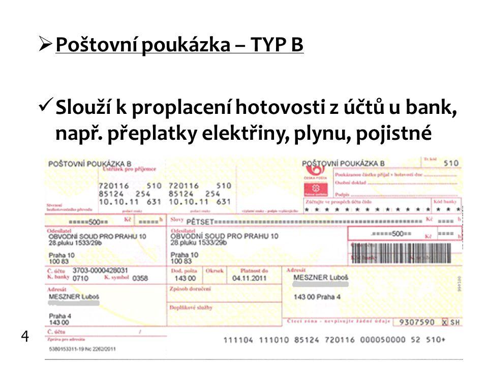 Poštovní poukázka – TYP B