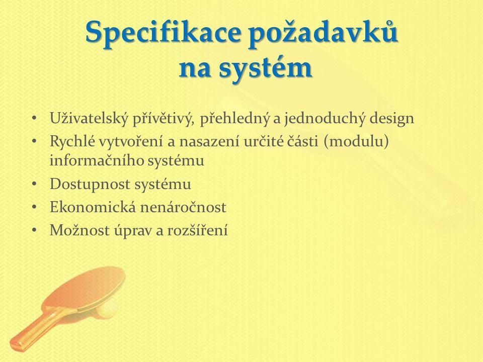 Specifikace požadavků na systém