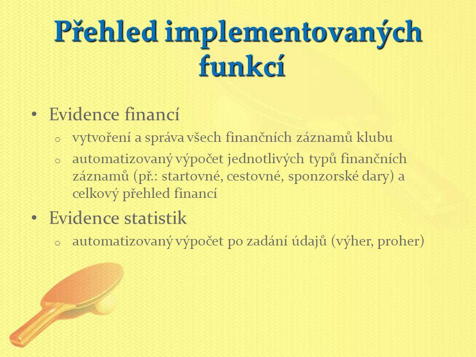 Přehled implementovaných funkcí