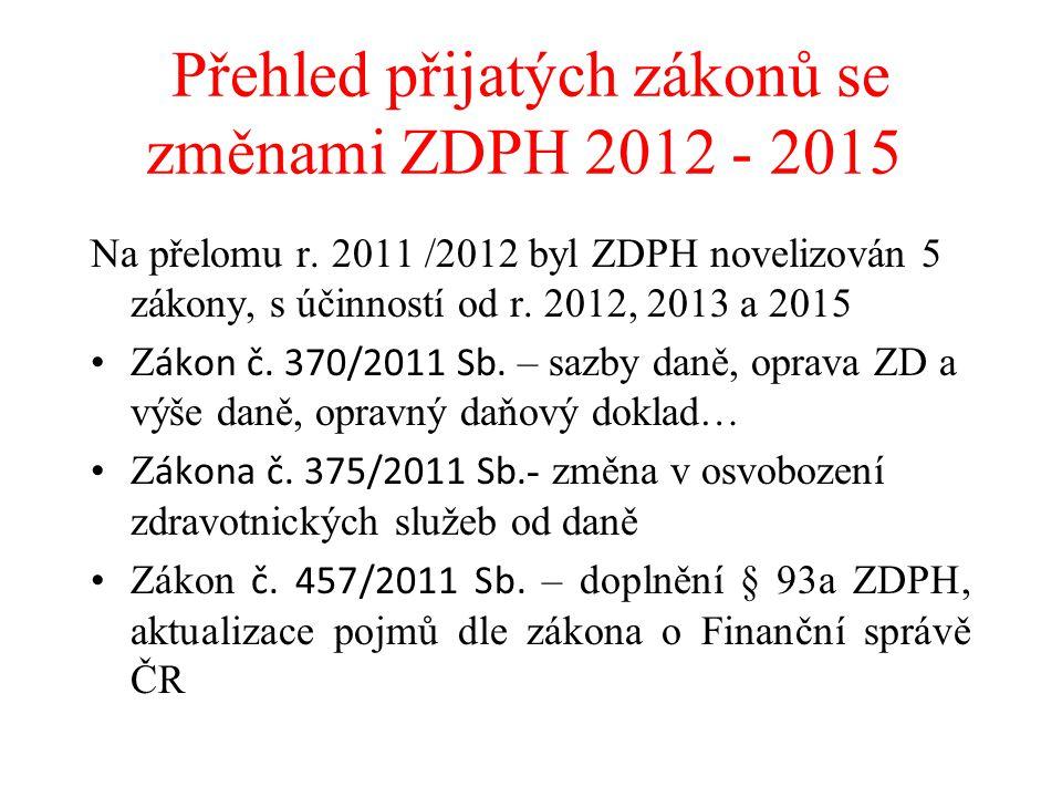 Přehled přijatých zákonů se změnami ZDPH 2012 - 2015