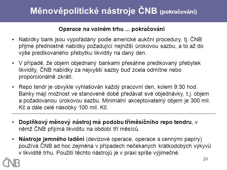 Měnověpolitické nástroje ČNB (pokračování)