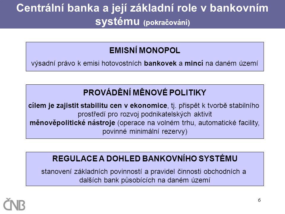 Centrální banka a její základní role v bankovním systému (pokračování)