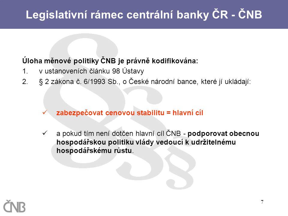Legislativní rámec centrální banky ČR - ČNB