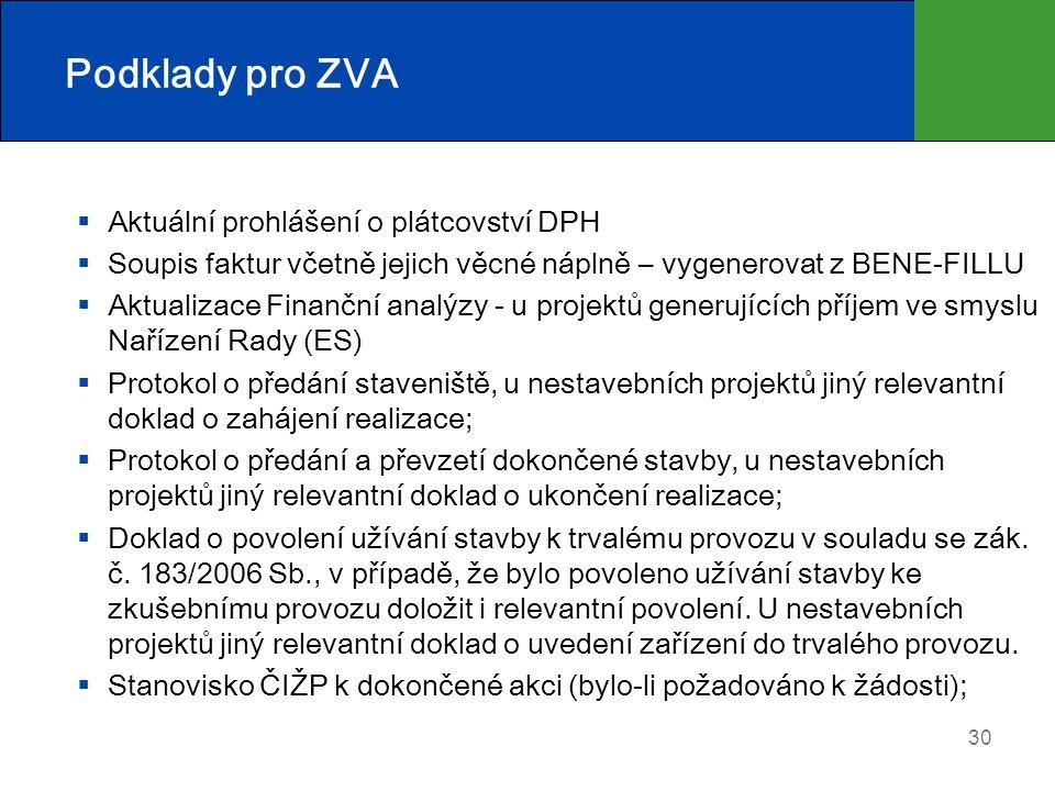 Podklady pro ZVA Aktuální prohlášení o plátcovství DPH