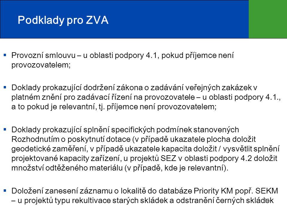 Podklady pro ZVA Provozní smlouvu – u oblasti podpory 4.1, pokud příjemce není provozovatelem;