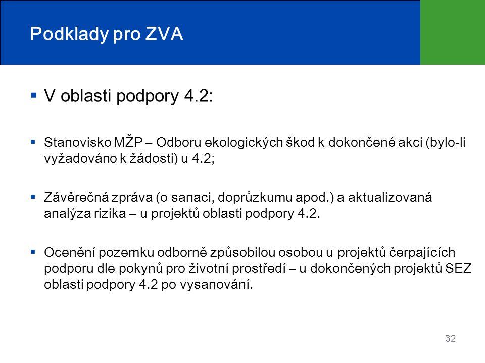 Podklady pro ZVA V oblasti podpory 4.2: