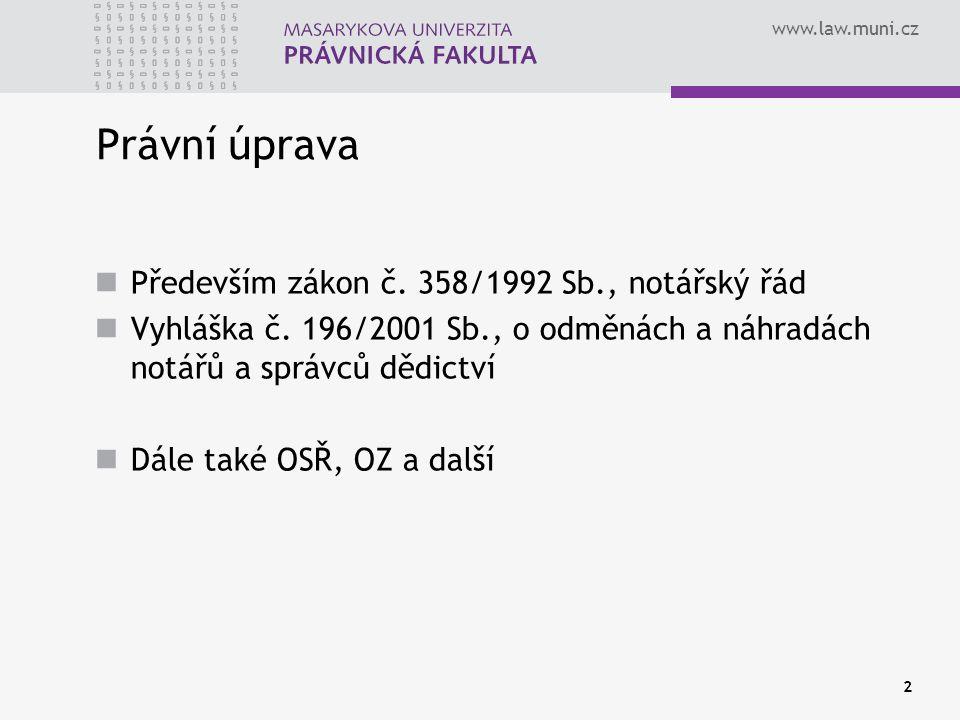 Právní úprava Především zákon č. 358/1992 Sb., notářský řád
