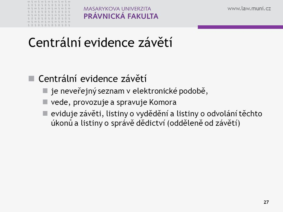 Centrální evidence závětí