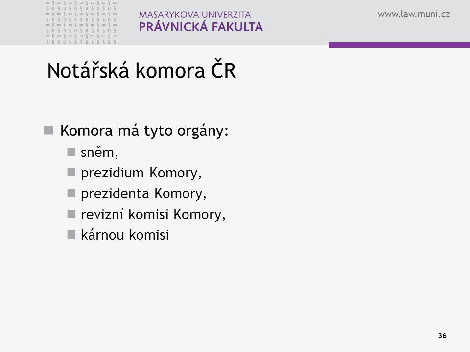 Notářská komora ČR Komora má tyto orgány: sněm, prezidium Komory,