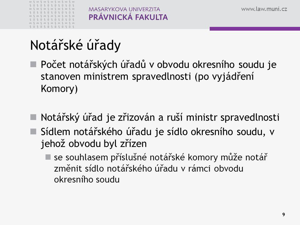Notářské úřady Počet notářských úřadů v obvodu okresního soudu je stanoven ministrem spravedlnosti (po vyjádření Komory)