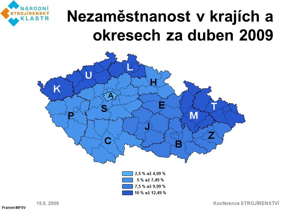 Nezaměstnanost v krajích a okresech za duben 2009