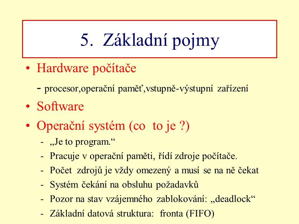 5. Základní pojmy Hardware počítače