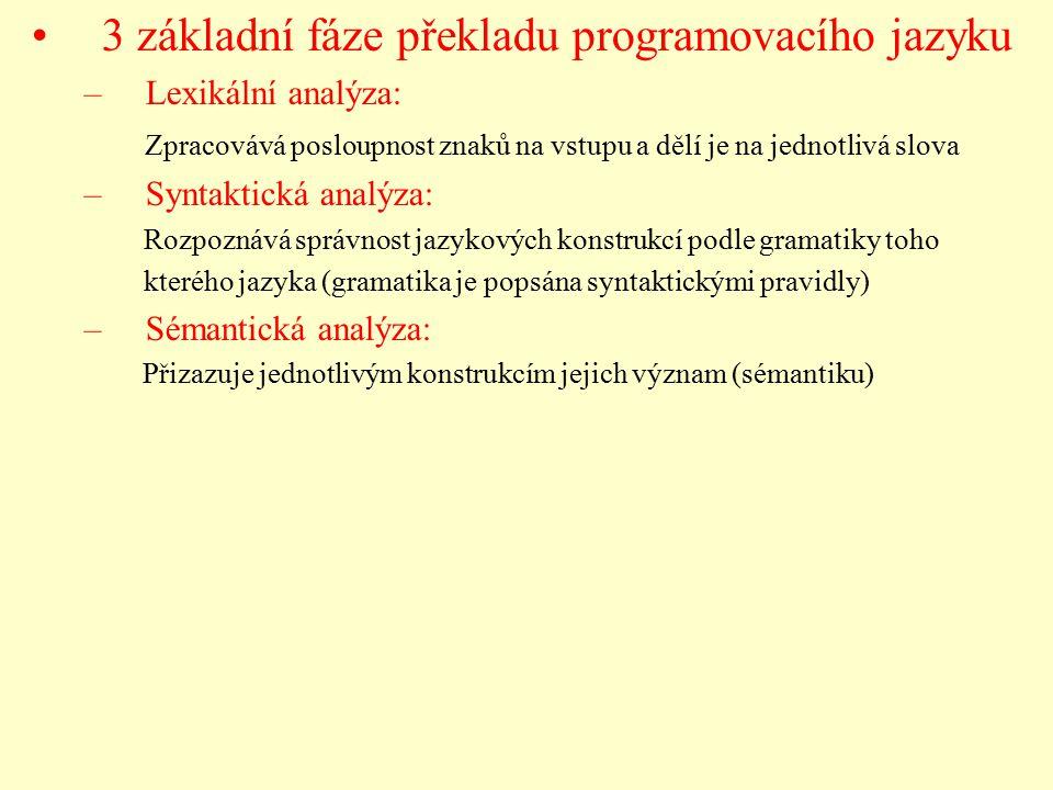 3 základní fáze překladu programovacího jazyku