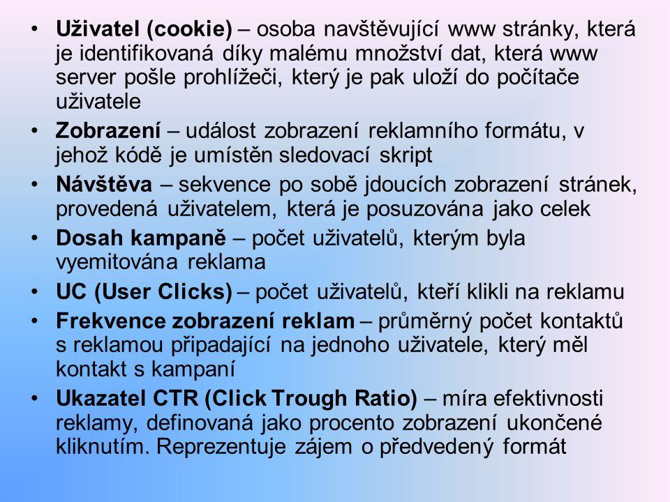 Uživatel (cookie) – osoba navštěvující www stránky, která je identifikovaná díky malému množství dat, která www server pošle prohlížeči, který je pak uloží do počítače uživatele